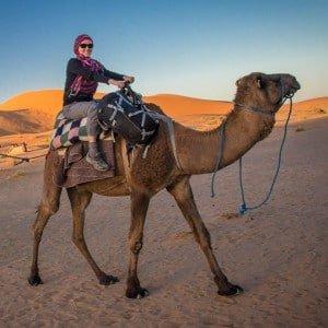 Riding a Camel in the Sahara